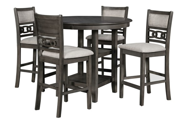 New Classic Furniture Gray Gia 5pc Counter Height Bar Set NCF-D1701-52S-GRY