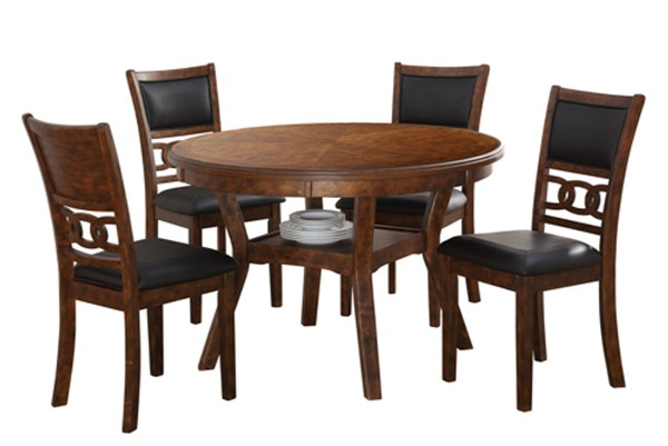 New Classic Furniture Brown Gia Ii Round 5pc Dining Room Set NCF-DH1701-50S-BRN