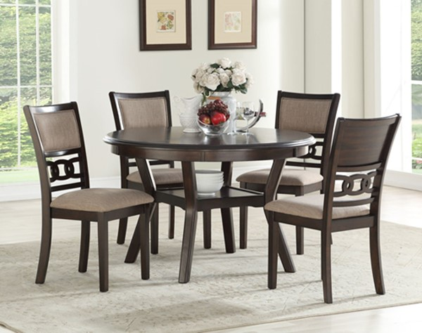 New Classic Furniture Cherry Gia Ii Round 5pc Dining Room Set NCF-DH1701-50S-CHY