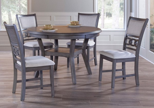 New Classic Furniture Gray Gia Ii Round 5pc Dining Room Set NCF-DH1701-50S-GRY