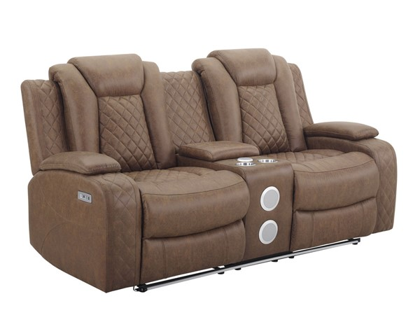 New Classic Furniture Dyer Tan Power Headrest Footrest Console Loveseat NCF-U1716-25P2-DTN