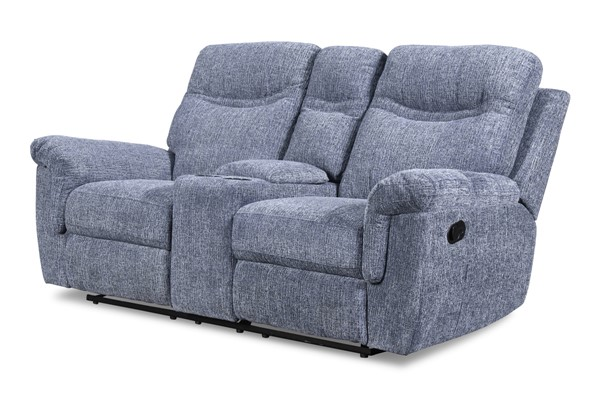 New Classic Furniture Sheffield Blue Console Power Headrest And Footrest Loveseat NCF-U2432-25P2-BLU