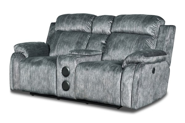 New Classic Furniture Tango Shadow Console Power Footrest Loveseat with Speaker NCF-U396-25P1-SHW