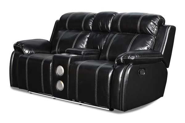 New Classic Furniture Fusion Ebony Power Footrest Console Loveseat with Speaker NCF-U3969-25P1-EBY