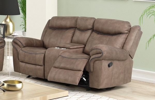 New Classic Furniture Harley Light Brown Glider Console Dual Recliners Loveseat NCF-U4220-25-LBW