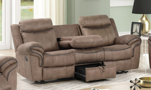 New Classic Furniture Harley Light Brown Dual Recliner Sofa NCF-U4220-30-LBW