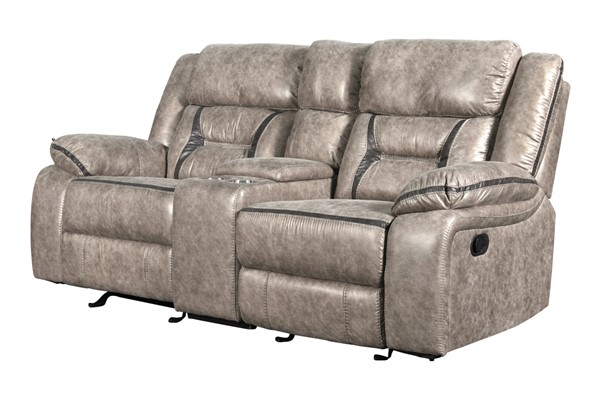 New Classic Furniture Roswell Pewter Dual Recliner Console Loveseat NCF-U4227-25-PTR