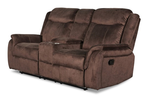 New Classic Furniture Cavett Cocoa Dual Recliners Console Loveseat NCF-U9525-25-COC