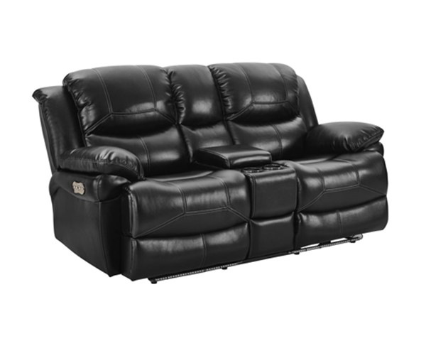 New Classic Furniture Flynn Black Power Footrest Console Loveseat NCF-UC2177-23P1-PBK