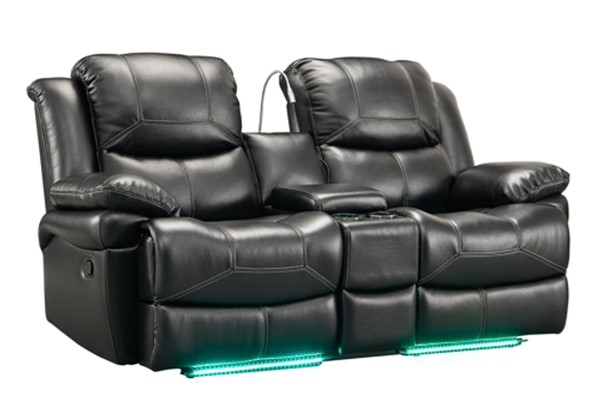 New Classic Furniture Flynn Black Power Footrest Console Loveseat with Reading Light NCF-UC2177-25P1-PBK