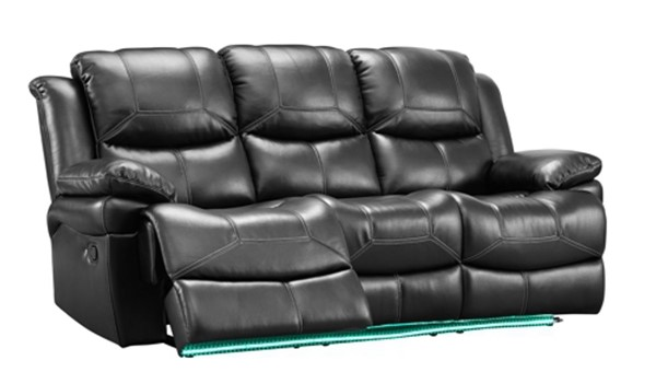 New Classic Furniture Flynn Black Power Footrest Sofa with Lighted Base NCF-UC2177-30P1-PBK