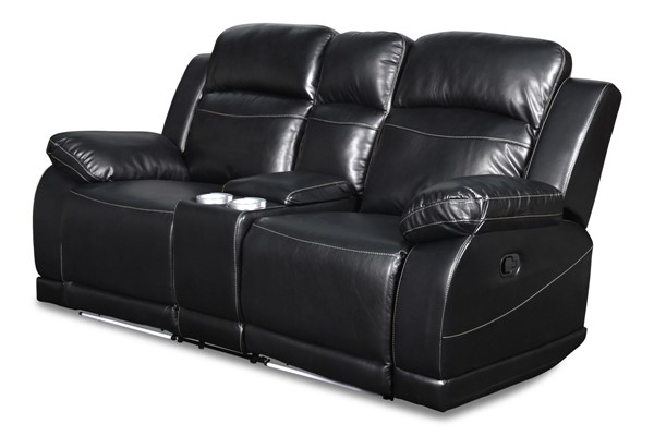 New Classic Furniture Vega Black Console Power Footrest Loveseat NCF-UC3822-25P1-PBK