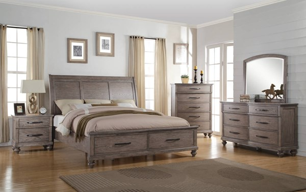 La Jolla Taupe Oak Solids Veneers Master Bedroom Set NCF-B1033-BR