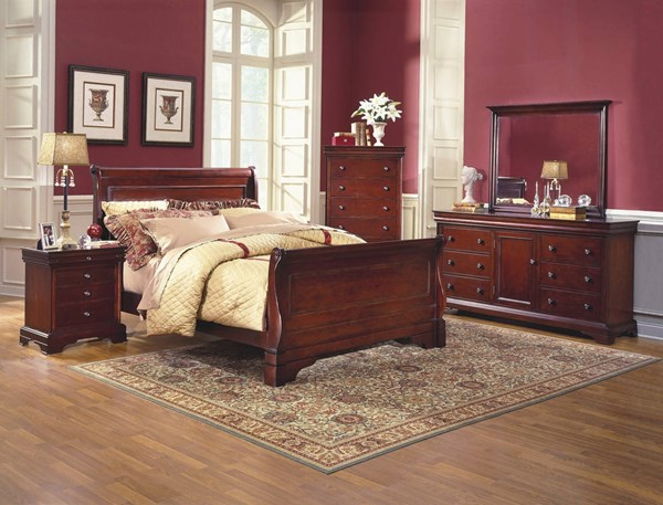Versaille Classic Bordeaux Birch Solids Veneers Master Bedroom Set NCF-1040-BR