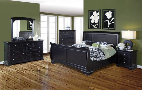 Maryhill Rubbed Black Basswood Solids Master Bedroom Set NCF-2105-BR