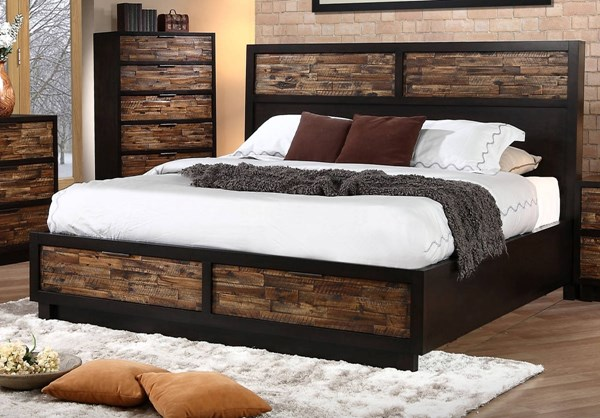 Makeeda Rustic Acacia Wood Maple Veneer 6/6 King Storage Bed & Makeeda Rustic Acacia Wood Maple Veneer 6/6 King Storage Bed | The ...