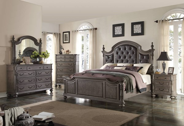 Monticello Dark Gray Poplar Solids Master Bedroom Set NCF-B584-BR