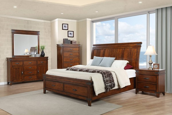 Saratoga Caramel Solids Rubberwood 2pc Bedroom Set W King Storage Bed The Classy Home
