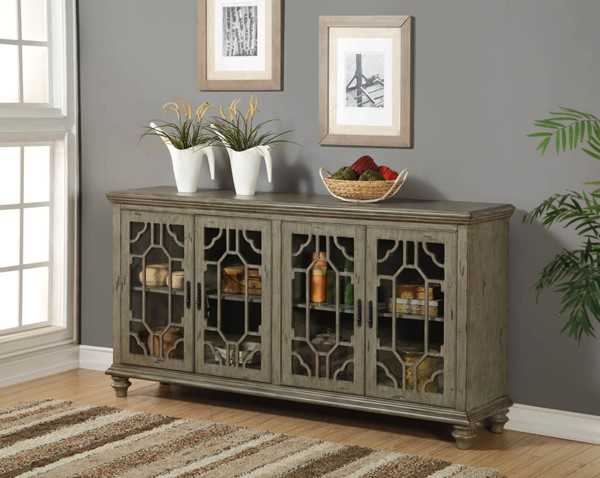 monaco gray wood shelves and doors credenza | home office | the