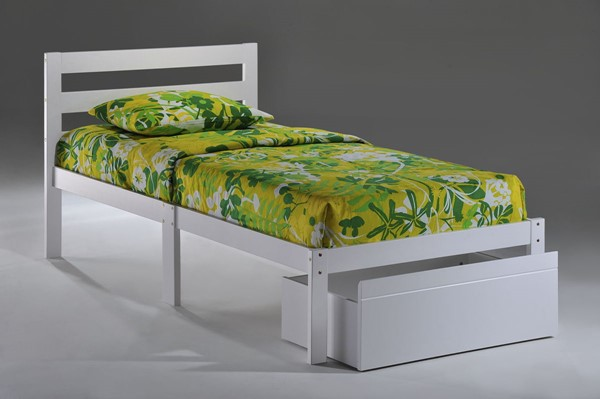 Night and Day Furniture White Twin Bed NDF-BITBD-TWN-WH