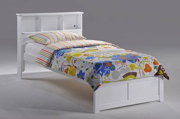 Night and Day Furniture Butterscotch White Twin Bookcase Bed NDF-YHF-BUT-TWN-WH-COM