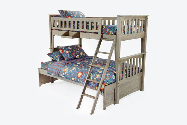 Night and Day Furniture Sailboat Brushed Driftwood Twin Over Full Bunk Bed NDF-PBH-SAL-T-F-BDR-COM