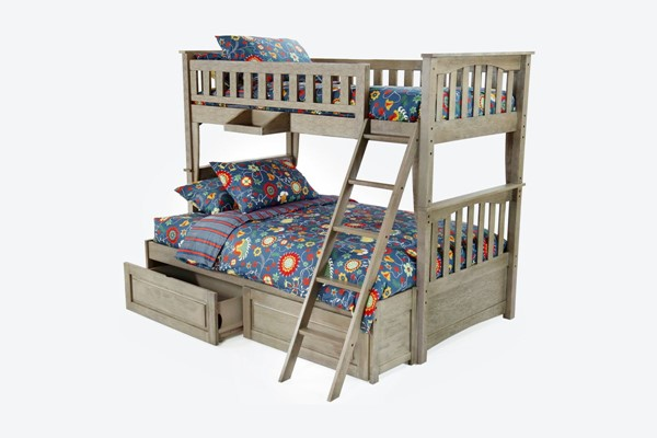 Night And Day Furniture Sailboat Brushed Driftwood Drawer Storage Bunk Beds NDF-PBH-SAL-T-T-BDR-S