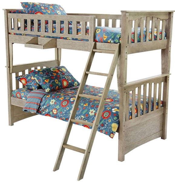 Night and Day Furniture Sailboat Brushed Driftwood Twin Over Twin Bunk Bed NDF-PBH-SAL-T-T-BDR-COM