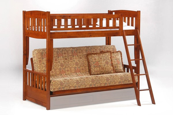 Night and Day Furniture Cinnamon Cherry Futon Bunk Bed NDF-SFBH-CIN-CH-COM