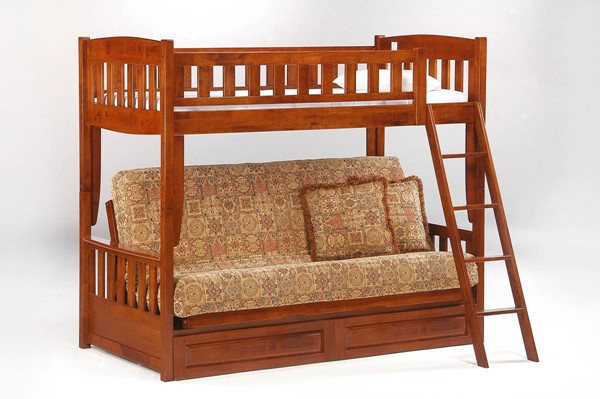 Night and Day Furniture Cinnamon Cherry Futon Drawer Bunk Beds NDF-SFBH-SD-CIN-LBED-VAR