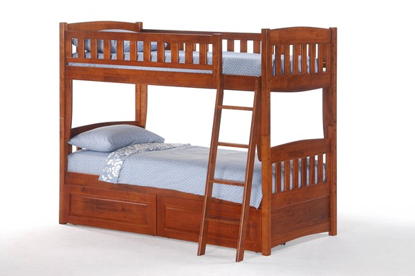 Night and Day Furniture Cinnamon Cherry Twin Twin Drawer Bunk Beds NDF-PBH-PDR-CIN-T-T-BB-VAR