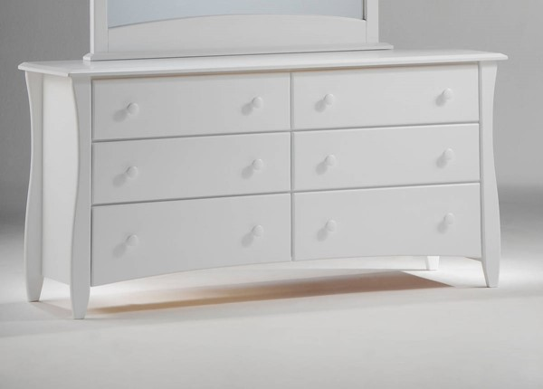 Night and Day Furniture Clove White 6 Drawer Dresser NDF-CD-CLOF-6A-WH