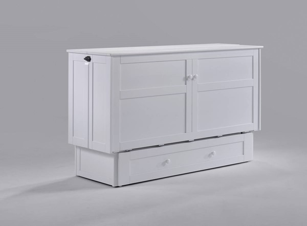 Night and Day Furniture Clover White Murphy Cabinet Bed with Mattress NDF-MUR-CLV-QEN-WH-COM