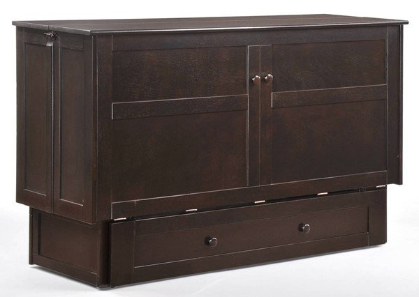 Night and Day Furniture Clover Dark Chocolate Murphy Cabinet Bed with Mattress NDF-MUR-CLV-QEN-CHO-COM