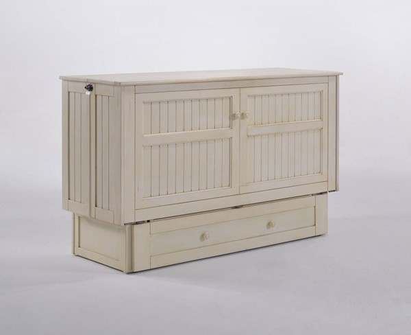 Night And Day Furniture Daisy Buttercream Murphy Cabinet Bed With Mattress NDF-MUR-DSY-QEN-BC-COM
