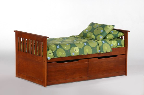 Night and Day Furniture Cherry Twin Captains Bed with Storage Drawer Set NDF-PCH-GIN-TWN-CH-KCRD-COM