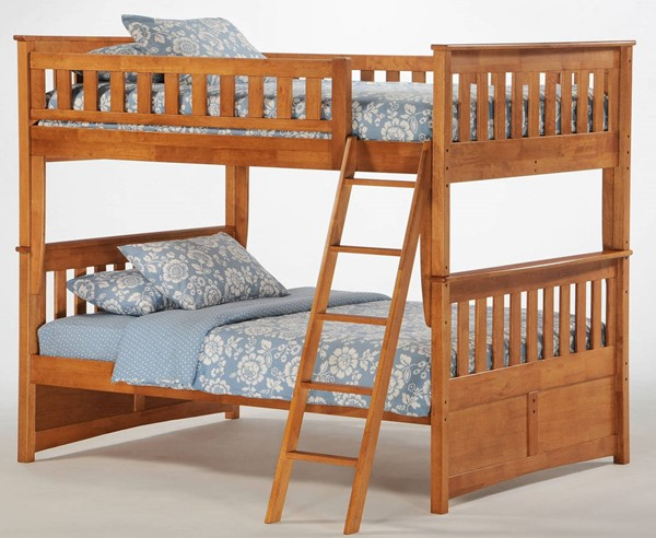 Night and Day Furniture Ginger Medium Oak Full Full Bunk Bed NDF-PBFF-GIN-MO-COM