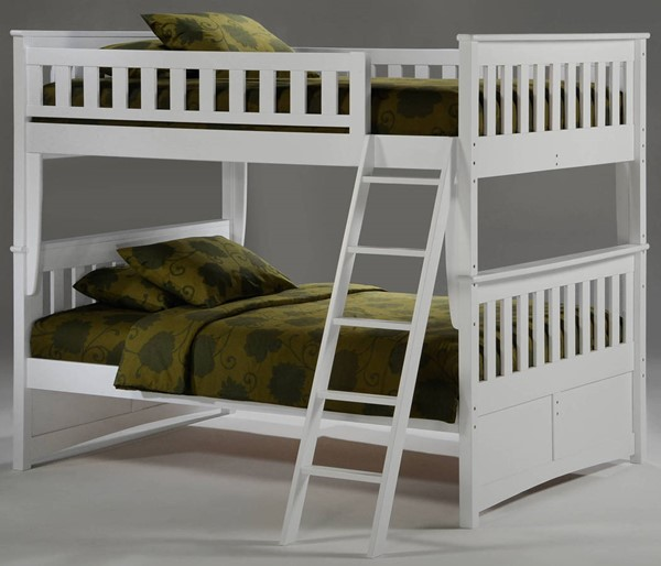 Night and Day Furniture Ginger White Full Full Bunk Bed NDF-PBFF-GIN-WH-COM