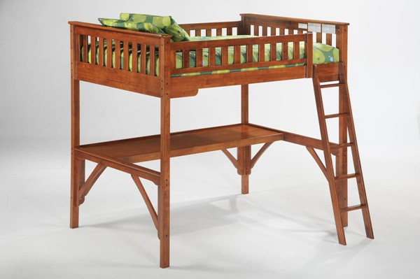Night and Day Furniture Ginger Cherry Full Loft Bed with Straight Desk NDF-LBH-GIN-LBD-STR-FUL-CH-COM