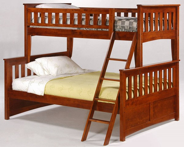 Night and Day Furniture Ginger Cherry Twin Full Bunk Bed NDF-PBTF-GIN-CH-COM