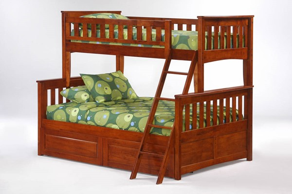 Night and Day Furniture Ginger Cherry Twin Full Drawer Bunk Beds NDF-PBTF-PDR-GIN-BB-VAR