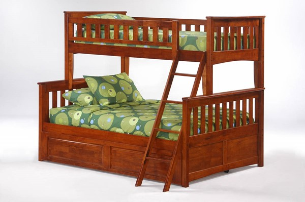 Night and Day Furniture Ginger Cherry Twin Full Trundle Bunk Beds NDF-PBTF-PBT-GIN-BB-VAR