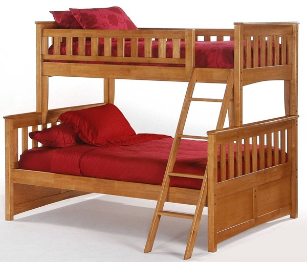 Night and Day Furniture Ginger Medium Oak Twin Full Bunk Bed NDF-PBTF-GIN-MO-COM
