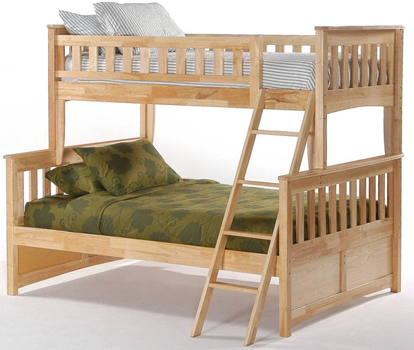Night and Day Furniture Ginger Natural Twin Full Bunk Bed NDF-PBTF-GIN-NA-COM