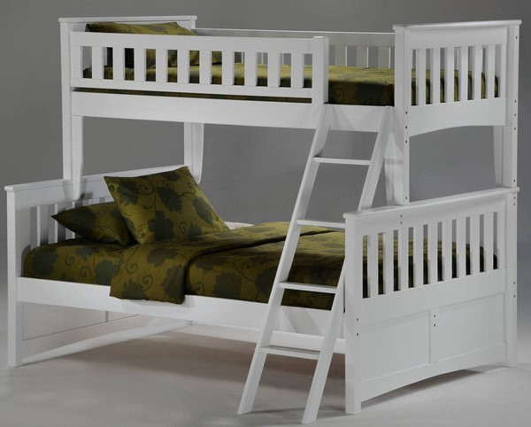 Night and Day Furniture Ginger White Twin Full Bunk Bed NDF-PBTF-GIN-WH-COM