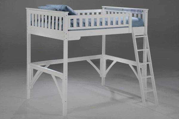 Night and Day Furniture Ginger White Twin Loft Bed NDF-LBH-GIN-TWN-WH-COM