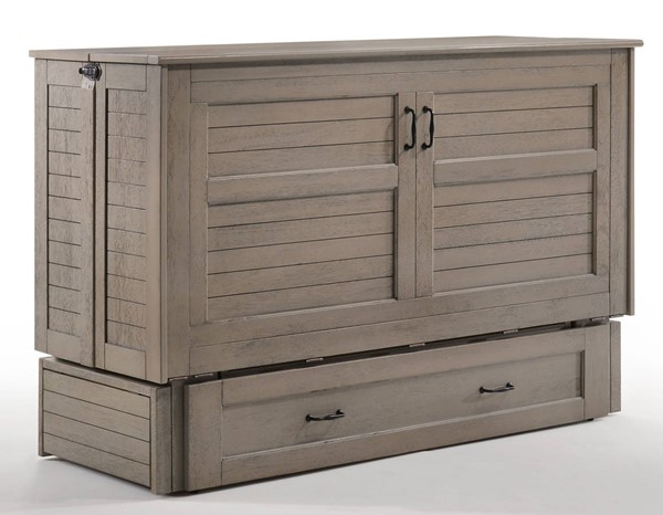 Night and Day Furniture Poppy Brushed Driftwood Murphy Cabinet Bed NDF-MUR-POP-QEN-BDR-COM