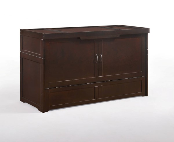 Night and Day Furniture Cube Chocolate Murphy Cabinet Bed with Mattress NDF-MUR-CUB-QEN-CHO-COM