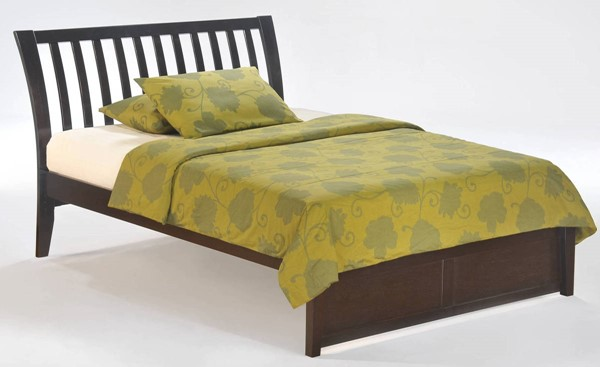Night and Day Furniture K Series Chocolate Twin Nutmeg Bed NDF-NUT-KH-TWN-CHO-COM