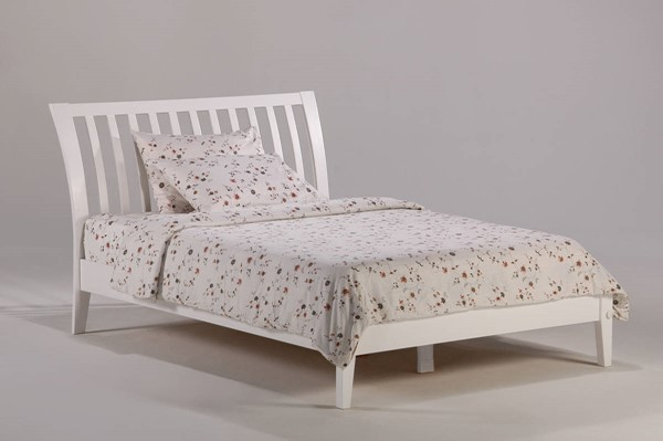 Night and Day Furniture P Series White Twin Nutmeg Bed NDF-NUT-PH-TWN-WH-COM